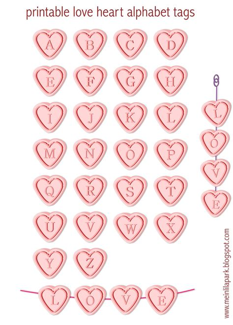 printable letters love free printable alphabet letter tags love hearts