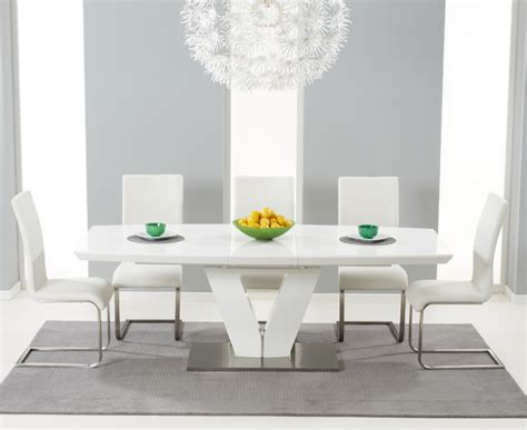 White Gloss Dining Table Set Xander White High Gloss V Shape 7 Extending Dining Set Malibu Chairs Mhf Malibu Dining