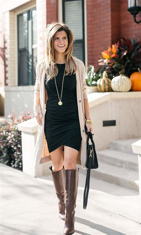 fall day  date dresses  boots fall fall outfits