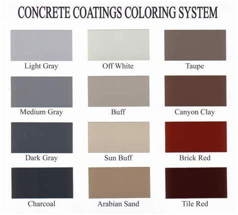 concrete color chart decorative concrete color charts sealant depot resources