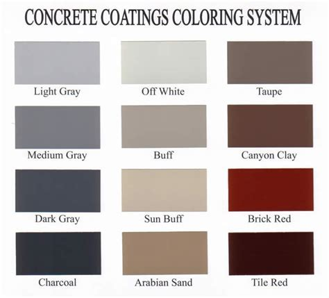 Decorative Concrete Color Charts   Sealant Depot Resources
