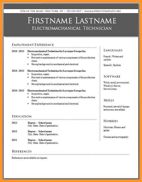 Microsoft Publisher Resume Templates Bio Letter Format Free Office Resume Templates