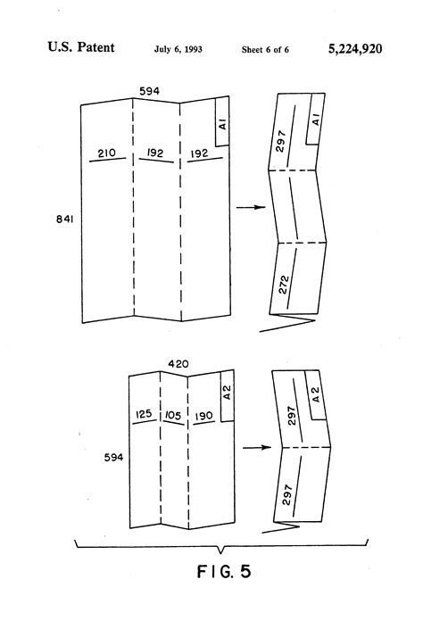 format a0 dwg patent us5224920 device for folding and collecting
