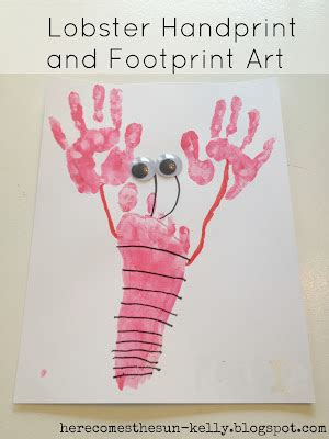 lobster handprint and footprint art | here comes the sun