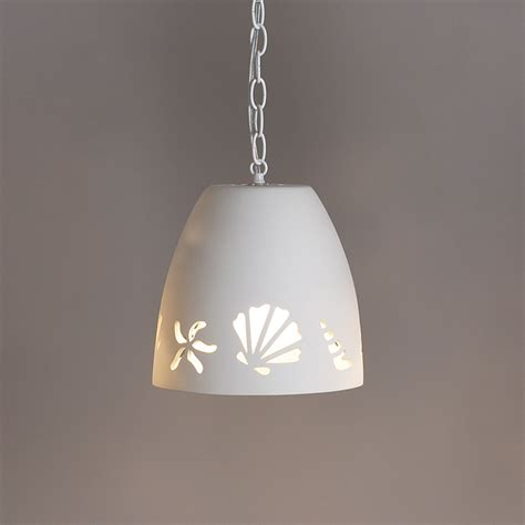 Ceramic Pendant Light 9 5 Quot Tumbler Ceramic Pendant Light W Seashells