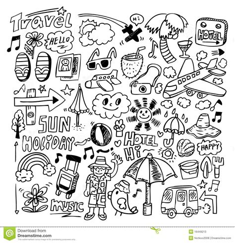 doodle how to use doodle travel stock vector image of rest elements
