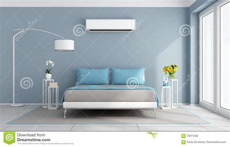 modern bedroom with air conditioner stock illustration