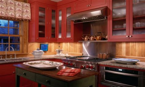 rustic painted kitchen cabinets red kitchen accents rustic painted kitchen cabinets red