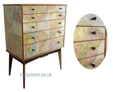 decoupage in vintage maps chest of drawers by alfred cox