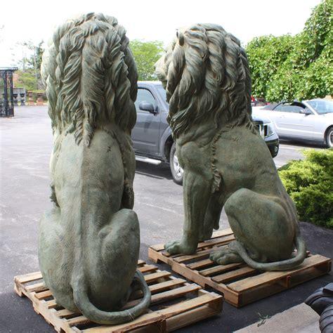 xl pair  bronze sitting lions  patina irongate