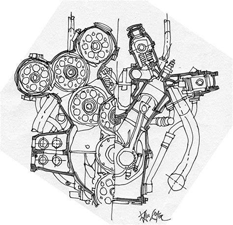 doodle engine alfa romeo grand prix engine drawing by paul guyer