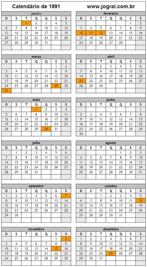 Calendario De 1991 Calend 225 Ano 1991 Para Imprimir Em Formato Pdf E Imagem