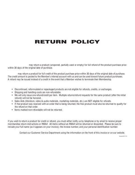 27 Images Of No Return Policy Template Infovia Net Refund And Exchange Policy Template