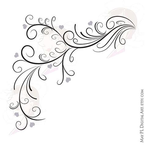 wedding clipart retro flourish curly borders swirl bridal diy invitation cards program