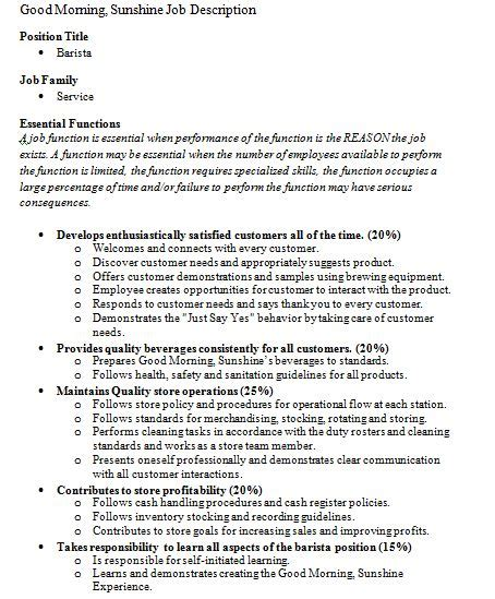 Job Descriptions Barista Good Morning Sunshine Essential Functions Description Template