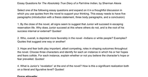 essay questions for the absolutely true diary of a part time indian by sherman alexie docs