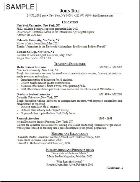 Resume And Cv Format Best 09 18 11