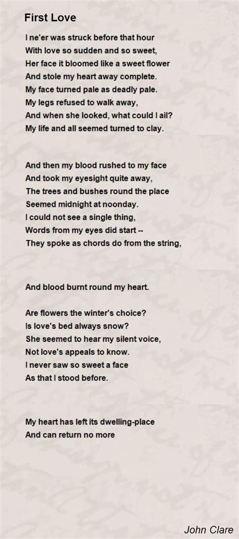 Themes In First Love By John Clare | first love poem by john clare poem hunter