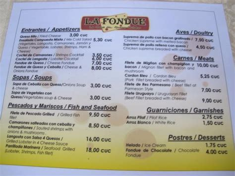 fondue dinner menu photo1 jpg picture of la fondue varadero tripadvisor