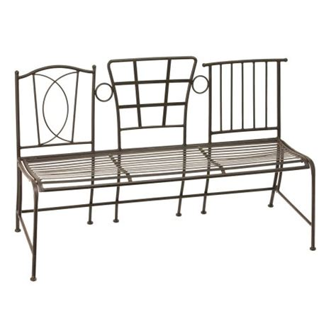 buy bench three chair back brown and bronze finish metal garden