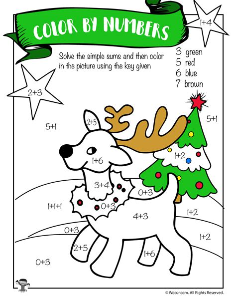 printable reindeer math games reindeer math addition coloring worksheet woo jr kids
