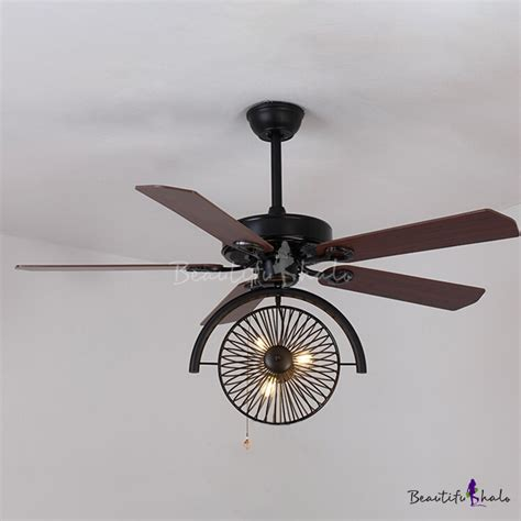 Wrought Iron Ceiling Fan With Light Industrial Fan Ceiling Fixture Gear In Wrought Iron Style 3 Light Beautifulhalo