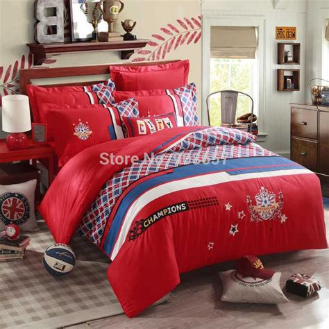 soccer comforter set new red blue plaid soccer football design 500tc egyptian