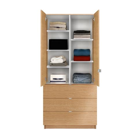 Wardrobes With Shelves alta wardrobe armoire adjustable shelves 3 drawers contempo space