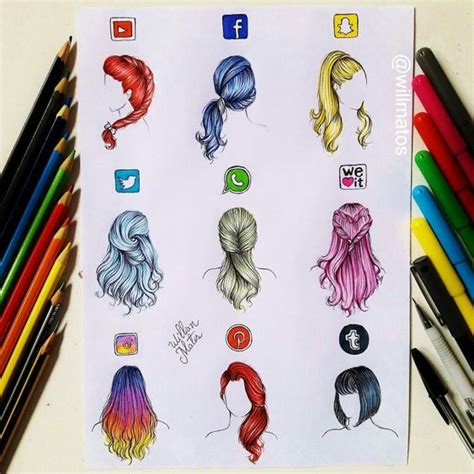 drawing tutorial instagram hair cabelos redessociais youtube facebook snapchat