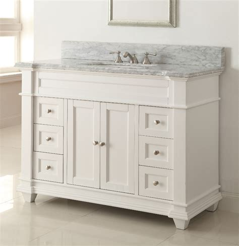 Adelina 49 Inch Bathroom Vanity White Finish Carrara Marble Bathroom Vanity