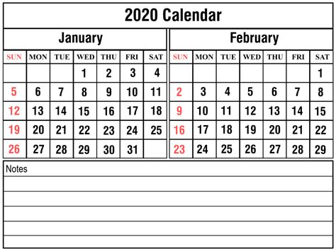 january february  calendar printable template
