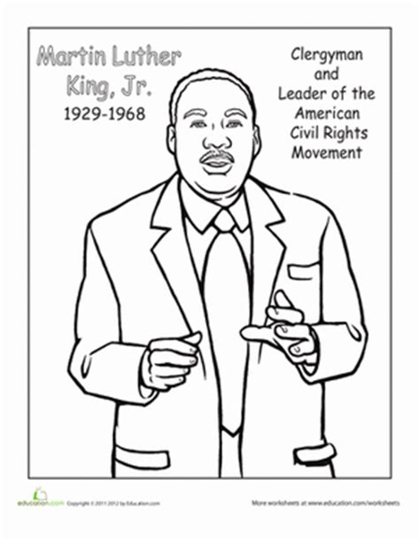 printable coloring page of martin luther king jr color dr martin luther king jr worksheet education com