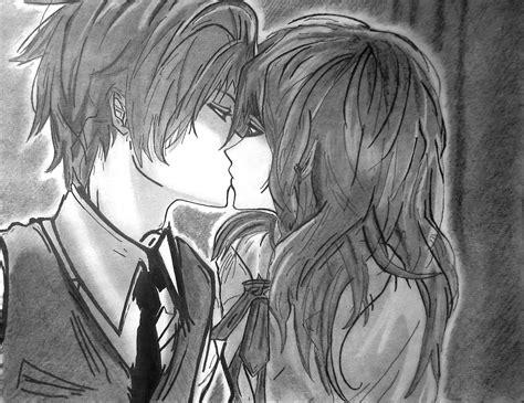 imagenes a lapiz de parejas besandose anime kiss beso anime dibujo taringa