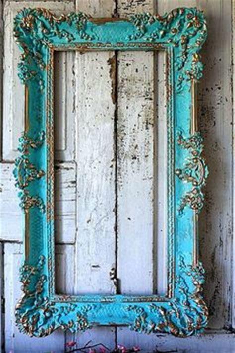 large frame wall decor aqua blue ornate accented gold large distressed ornate frame wall hanging blue w cream