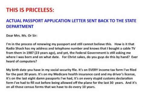 Cover Letter Passport Application This Is Priceless Actual Passport Application Letter Sent Back To The State Department Mov