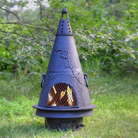 b q chiminea outdoor chimenea fireplace garden in charcoal finish