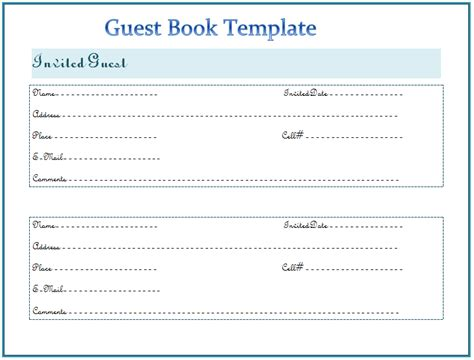 birthday guest book template guest book template best for any event
