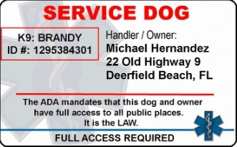 Service Dog Pvc Id Badge No Photo Emotional Support Animal Id Card Template