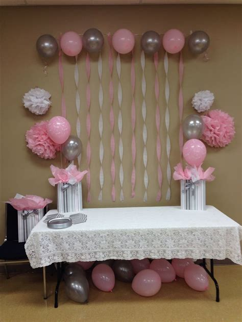 light pink grey white baby shower baby shower ideas