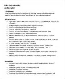 Resume Sle For Billing And Coding Insurance Billing Specialist Description 28 Images Health Insurance Specialist Resume Sle