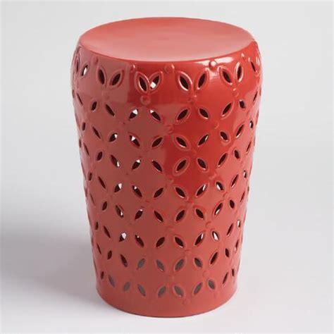 metal drum stool with wood seat orange punched metal lili drum stool world market