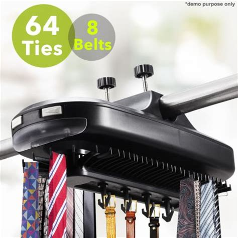 Electronic Closet Tie Rack by Electronic Revolving Tie Belt Closet Rack With Led Light
