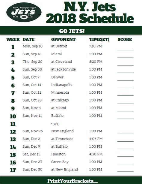 Printable Jets Schedule | printable n y jets schedule 2018 season