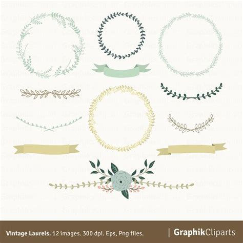 Laurel Wedding Clipart by Vintage Laurels Clipart Laurel Wreaths Clipart Floral