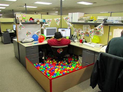 Brthday party office cubicle decoration ideas big man on office chair