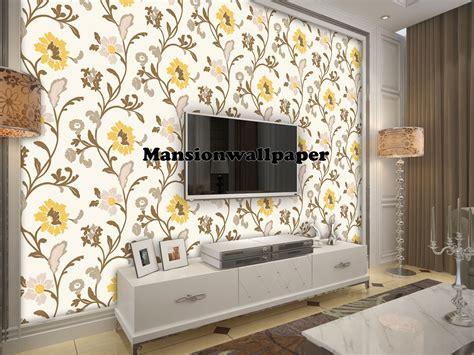 wallpaper dinding eksklusif jual wallpaper dinding bunga modern kuning mansion