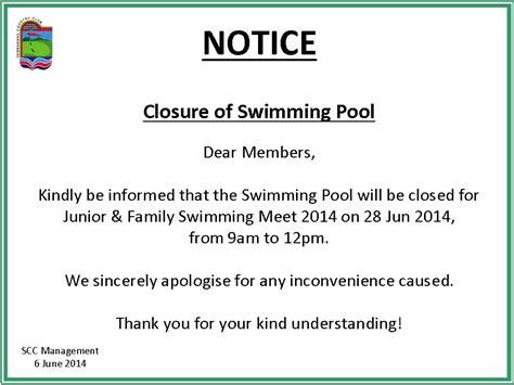 Closure Notice Template