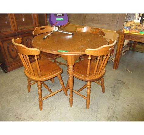 Used Wood Dining Table With 4 Chairs