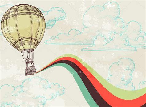 illustrator tutorial hot air balloon retro hot air balloon sky background stock vector