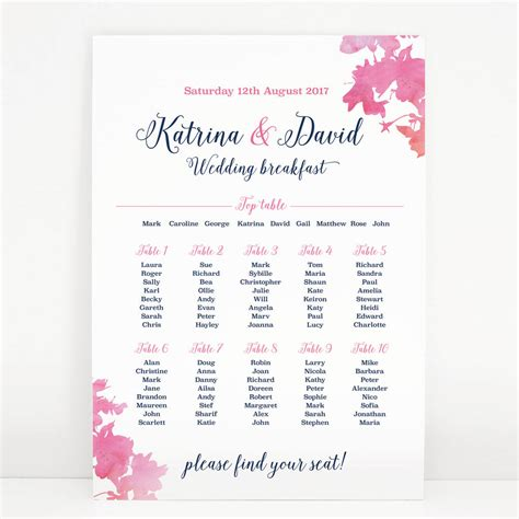 wedding table seating pink blossom wedding table seating plan by project pretty